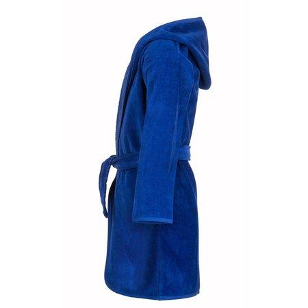 Baby badjas kobaltblauw katoen - met capuchon