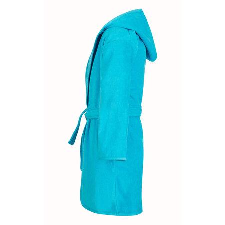 Baby badjas aquablauw katoen - met capuchon