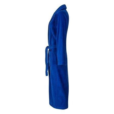 Badrock Kobalt blauwe velours badjas unisex met naam borduren