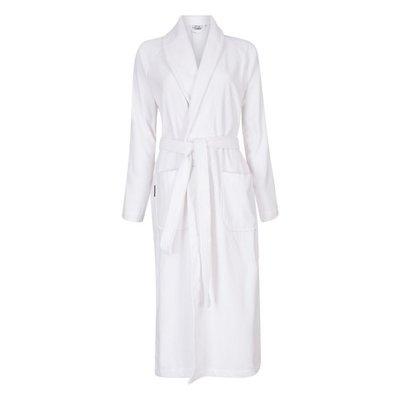 Badrock Witte velours badjas unisex met naam borduren