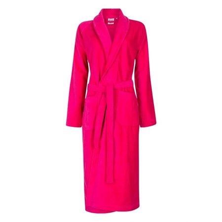 Badrock Donker roze velours badjas unisex met naam borduren