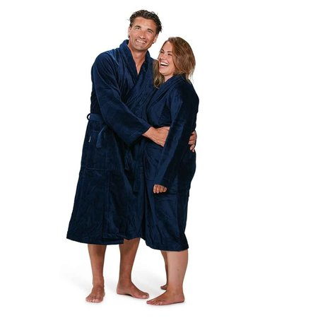 Badrock Donkerblauwe velours badjas unisex met naam borduren