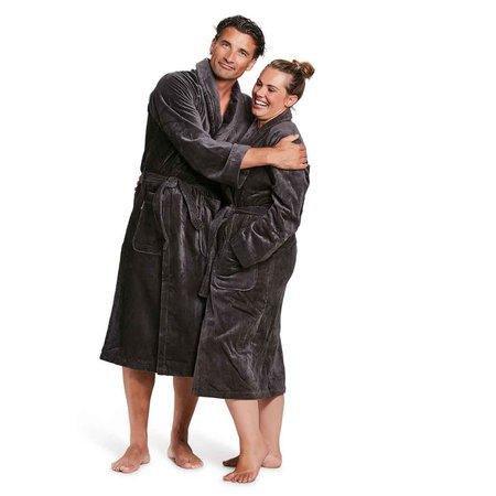 Badrock Antraciet velours badjas unisex met naam borduren