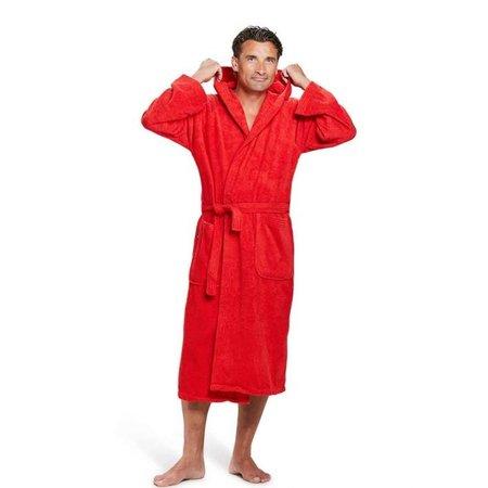 Badrock Rode capuchon badjas met naam borduren - badstof katoen