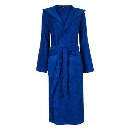 Badrock Kobaltblauwe capuchon badjas met naam borduren - badstof katoen