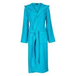 Badrock Aqua blauwe capuchon badjas met naam borduren - badstof katoen