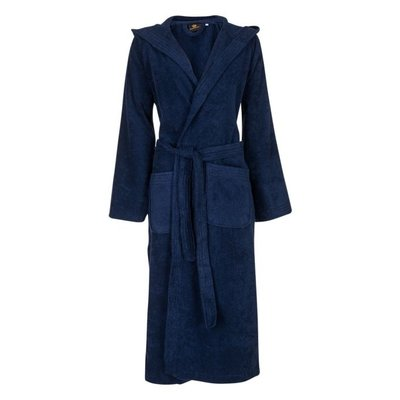 Badrock Donkerblauwe capuchon badjas met naam borduren - badstof katoen