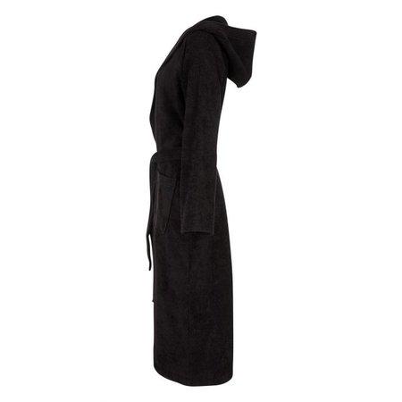 Badrock Zwarte capuchon badjas met naam borduren - badstof katoen