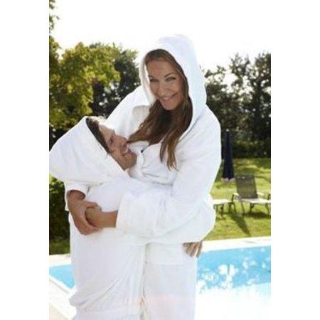 Badrock Witte capuchon badjas met naam borduren - badstof katoen