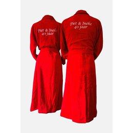 Badrock Rode velours badjas unisex met naam borduren