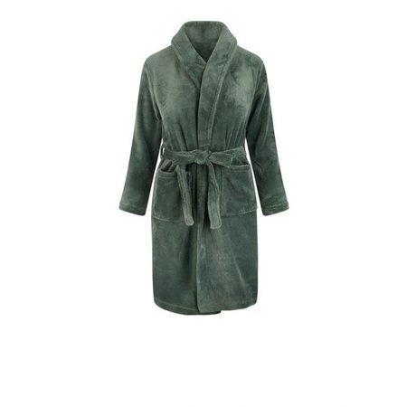 Relax Company  Olijf groene fleece kinderbadjas met naam borduren - Copy