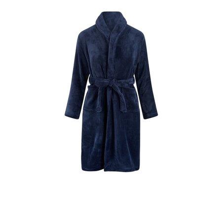 Relax Company  Donkerblauwe fleece kinderbadjas met naam borduren