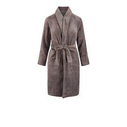 Relax Company  Taupe grijze fleece kinderbadjas met naam borduren