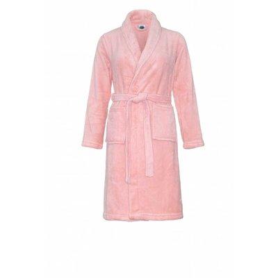 Relax Company  Pastel roze fleece kinderbadjas met naam borduren