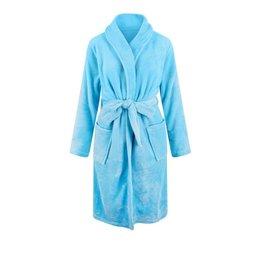 Relax Company  Licht blauwe unisex fleecebadjas met naam borduren