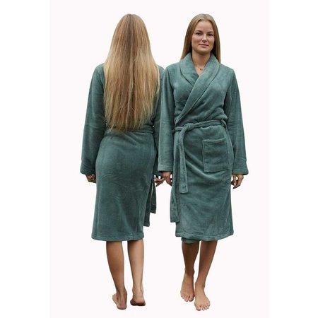 Relax Company  Olijf groene unisex fleecebadjas met naam borduren