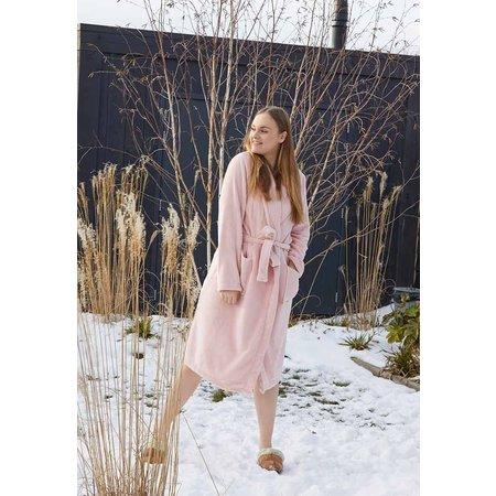 Relax Company  Pastel roze unisex fleecebadjas met naam borduren