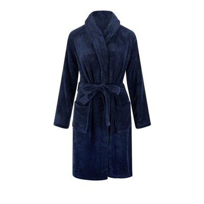 Relax Company  Marine blauwe unisex fleecebadjas met naam borduren