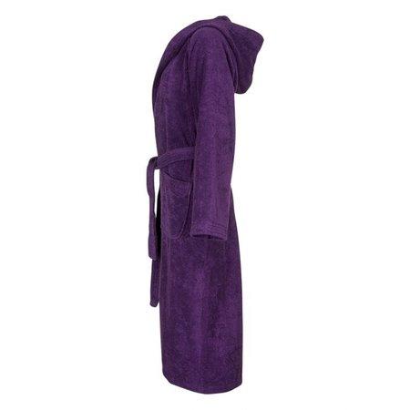 Badrock Paarse capuchon badjas met naam borduren - badstof katoen