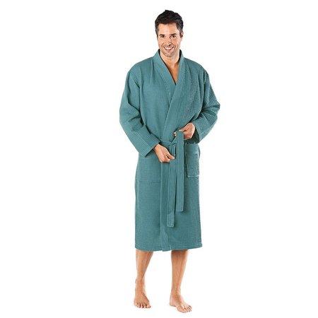 Badrock Petrol lichtgewicht saunabadjas met naam borduren - wafel katoen