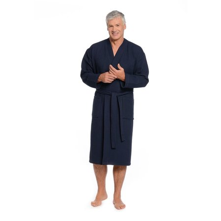 Badrock Donkerblauwe lichtgewicht saunabadjas met naam borduren - wafel katoen