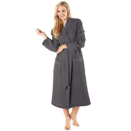Badrock Antraciet lichtgewicht saunabadjas met naam borduren - wafel katoen