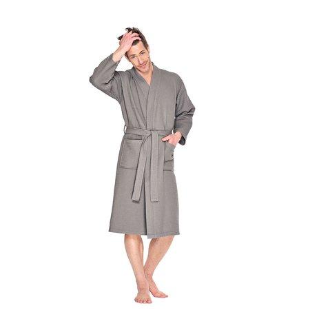 Badrock Taupe lichtgewicht saunabadjas met naam borduren - wafel katoen