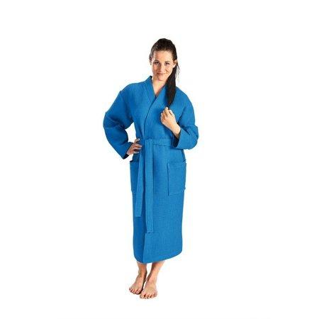 Badrock Kobalt lichtgewicht saunabadjas met naam borduren - wafel katoen