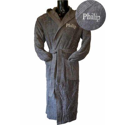 Badrock Donkergrijze capuchon badjas met naam borduren - badstof katoen