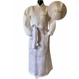 Badrock Witte lichtgewicht saunabadjas met naam borduren - wafel katoen