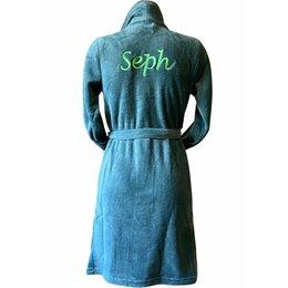 Relax Company  Olijf groene fleece kinderbadjas met naam borduren