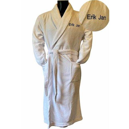 Relax Company  Witte unisex fleecebadjas met naam borduren