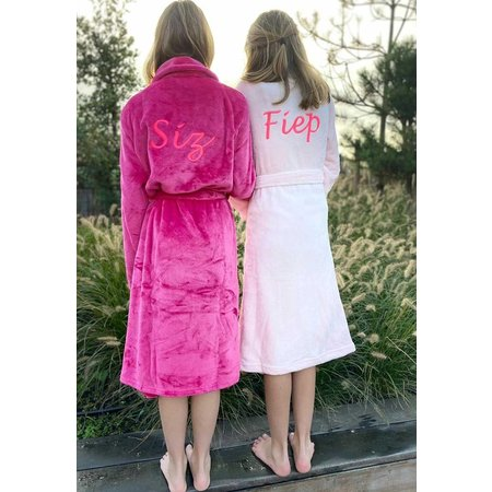 Badrock Donkerroze unisex fleece kinderbadjas met naam borduren
