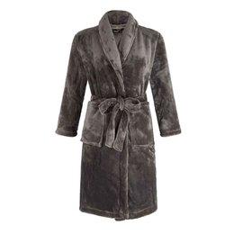 Badrock Grijze unisex fleece kinderbadjas met naam borduren