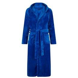 Badrock Kobaltblauwe capuchon fleecebadjas met naam borduren