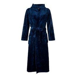 Badrock Donkerblauwe capuchon fleecebadjas met naam borduren