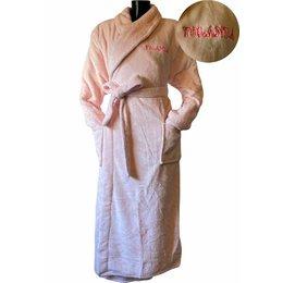 Badrock Lichtroze unisex fleecebadjas met naam borduren - lang model