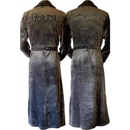 Badrock Grijze unisex fleecebadjas met naam borduren - lang model