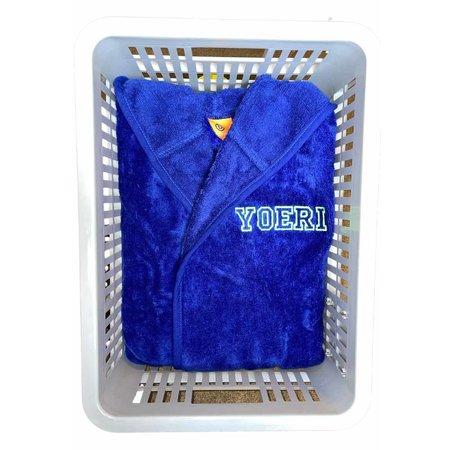 Badrock Kinderbadjas kobalt blauw met naam borduren