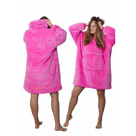 Badrock Roze fleece snuggie met naam borduren
