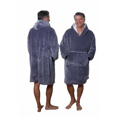 Badrock Grijze fleece snuggie met naam borduren