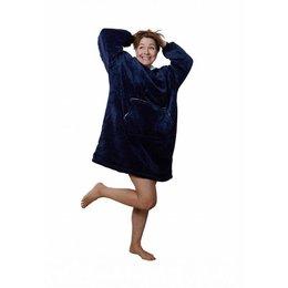 Badrock Donkerblauwe fleece snuggie met naam borduren