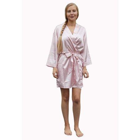 Satin-Luxury Licht roze satijnen kimono met naam borduren