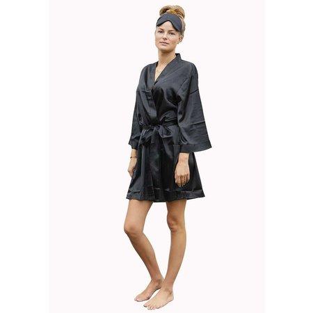 Satin-Luxury Zwarte satijnen kimono met naam borduren