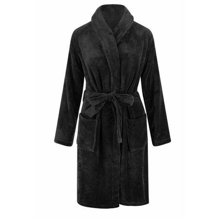 Relax Company  Zwarte unisex fleecebadjas met naam borduren