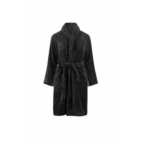 Relax Company  zwarte fleece kinderbadjas met naam borduren