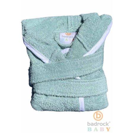 Badrock Baby  Groene babybadjas badstof katoen met capuchon - GRATIS slabbetje