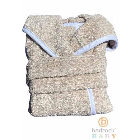 Badrock Baby  Zandkleurige babybadjas badstof katoen met capuchon - GRATIS slabbetje
