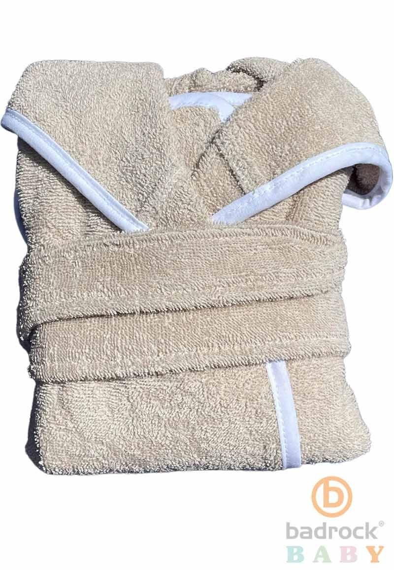 zandkleurige baby badjas met capuchon