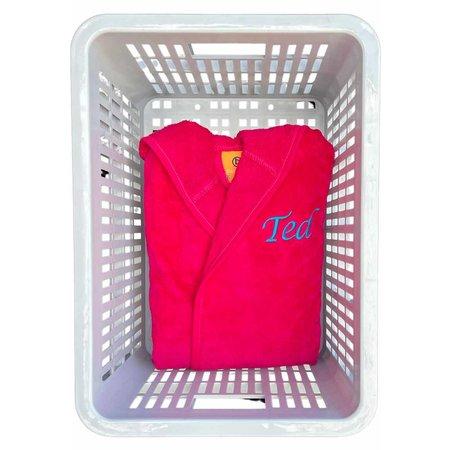 Badrock Kinderbadjas fuchsia roze met naam borduren